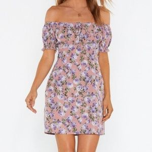 NASTY GAL Back to Lilac Floral Off Shoulder Dress